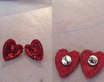 Sequins heart earrings