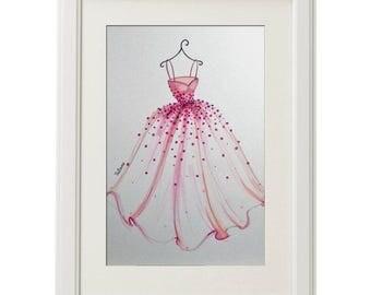 ORIGINAL Fashion Illustration-The Pink Dress