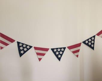 Sale! Patriotic Banner, 4th of July Banner, July 4th Banner, Patriotic Decor, Flag Burlap Banner, Americana Banner, Burlap Banner