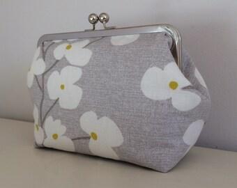 Grey Wallflower printed fabric Make-Up Bag with kiss lock frame - handmade