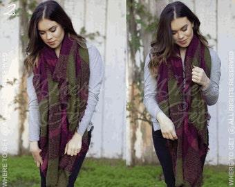 Bridesmaid wrap, Blanket Scarf, plaid tartan scarf, Oversized scarf , purple, Fall Plaid Scarf, ...