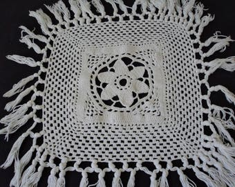 Vintage French hand crochet white cotton doily (04603)