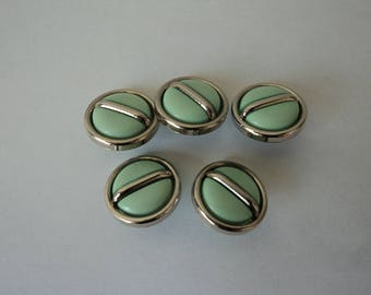 REDUCED - French vintage set of five green and silver buttons (04638)