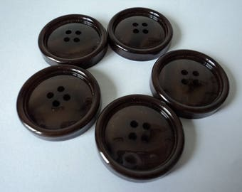 REDUCED - French vintage set of five brown craft buttons (04675)