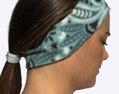 Headband Ponytail 2 in 1 Teal Grey White Paisley Flower Fleece Winter Headband - Wide Headband - workout headband Ear Warmer