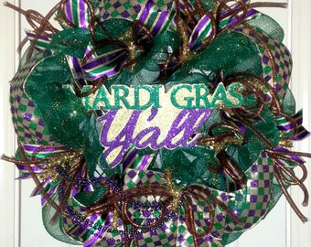 SALE, Mardi Gras wreath, Mardi Gras decoration, Mardi Gras door wreath, Mardi Gras Y'all wreath, Mardi Gras door hanger