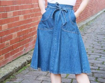 Vintage 1970s Denim Wrap Skirt / 70s Denim Skirt / Wrap Skirt / Orange Stitching / Pockets / XS/S
