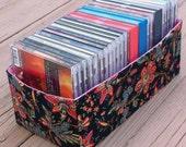 Fabric Box Basket, CD Storage, Office Bathroom Bedside Organizer, Gift for Her, Fabric Fat Quarter Storage, Black Floral Red Pink Green Blue
