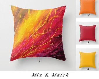 Throw Pillow Cover, Red Yellow Orange Pillow, Colorful Abstract Pillow Decorative Pillows Toss Pillow Designer Pillow Art Pillow 26x26 24x24