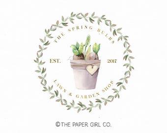 bulb logo design garden logo gardner logo premade logo photography logo potted plant logo etsy shop logo laurel wreath logo watermark