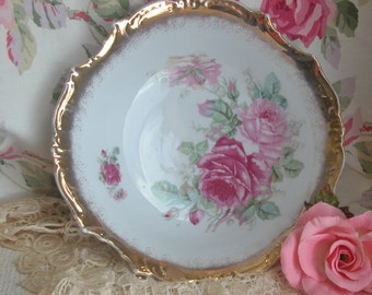 Gorgeous Hand Painted Roses Porcelain Bowl, Cottage, Shabby Chic