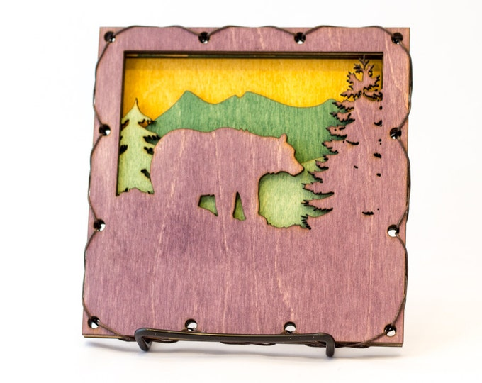 Rustic Styled Bear Wood Wall Art