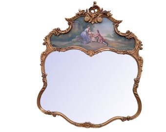 French Trumeau Mirror Gilt French Painted Trumeau Mirror Paris Apartment Carved Mirror Italian Painted Trumeau Mirror French Country Mirror