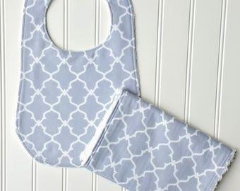 Gray Baby Boy Bib and Burp Cloth Set