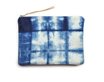 Shibori Clutch in Grid Pattern with Metal Zipper and Gold-flecked Pull