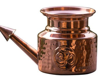 Copper Neti Pot For Sinus Congestion (Ayurvedic Jalneti Lota For Complete Sinus Cleansing) 100% Pure Copper