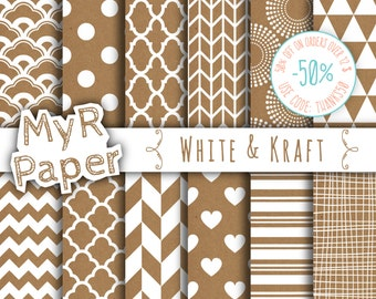 """Kraft digital paper: """"White & Kraft"""" with kraft scrapbook paper,Instant Download, with Chevron, Triangles, Stripes, Polka Dots and more..."""