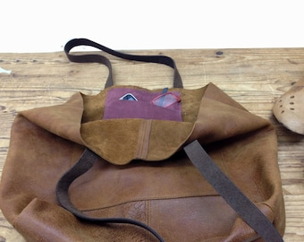 Sale!!!  Personalized Leather tote bag Tote in Distressed brown leather bag Front pocket leather tote purse Tote handbag