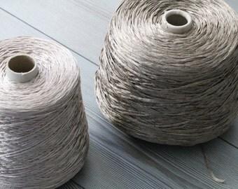 Set of two luxury Italian ribbon yarns,yarn on cone,ribbon yarn,gold yarn,weaving,knitting,machine knitting yarn,crochet,metallic yarn