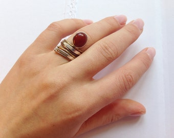 Natural Dark Carnelian . Sterling Silver Ring  . Copper Accents. Mixed Metals