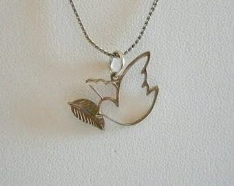 Silver Tone Dove Pendant With Chain Necklace