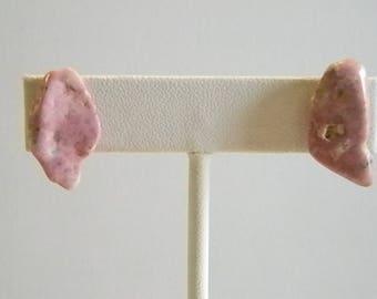Pink Rock Stone Post Pierced Earrings