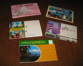 5  Vintage 1950-60 souvenir Fold Out booklets 2 Disneyland, Southern California, Las Vegas, Los Angelas UNUSED  *free shipping