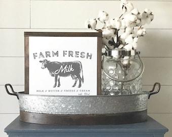 Farm Fresh Milk Papered Wood Sign - Farmhouse Wood Sign - Gallery Wall Art - Home Decor - Farmhouse Decor