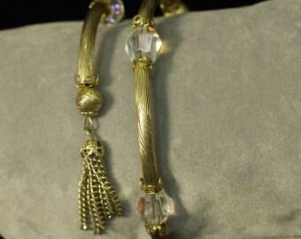Vintage Coil Gold Tone Crystal Tassel Bracelet