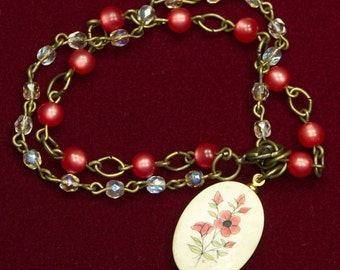 Wild Red Rose Double Chain Beaded Charm Bracelet