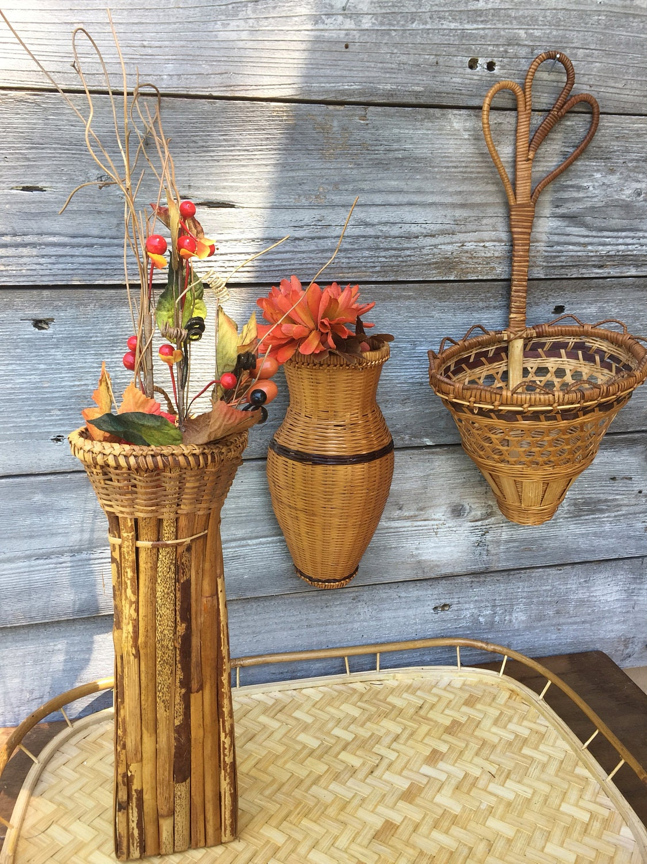 woven wicker wall basket hanging basket boho decor wicker wall. Black Bedroom Furniture Sets. Home Design Ideas