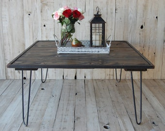 """Square Coffee Table with 16"""" Hairpin Legs in a Dark Walnut Stain"""