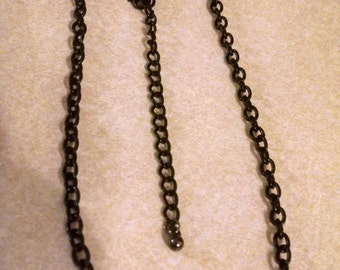 "Black Chain Necklace,Gifts Under 20.00,Gifts for Anyone, Accessories, 27 1/2"" Black Chains, Black Necklaces, Vintage Chain Necklace, For All"