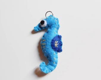Seahorse felt ornament or key chain. Stuffed animal tropical hippocampus toy