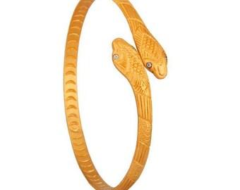 luxury boho 24k gold vermeil snake bangle with white zircons
