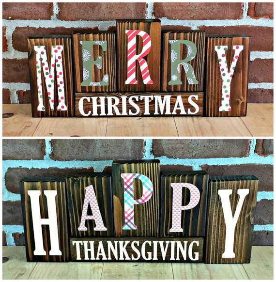 ChristmasThanksgiving Letter Blocks Rustic Wooden Letter