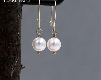 Bridal Earrings, Classic pearl earrings, Pearl dangle earrings, Wedding earrings, Pearl drop earrings, Gold pearl earrings, AAA 7-7.5mm