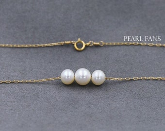 Three pearl gold necklace, Gold pearl necklace, Genuine freshwater pearl necklace, Bridesmaid Necklace, AAA round pearl 6mm and 7mm