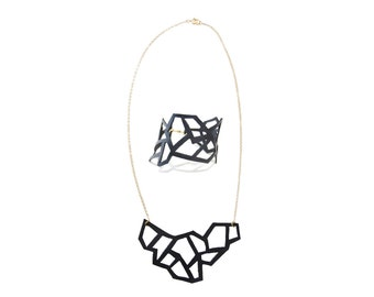 Gift Set: Mini Leather Cutout Necklace & Bracelet, Abstract Leather Jewelry, Jewelry Set
