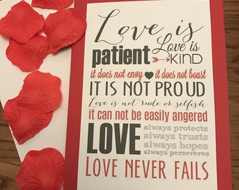 Love is..... themed cards. A5 size, love is patient...wedding