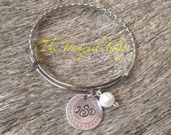 Stainless Steel Wire Braided Bangle - Monogrammed Bracelet - Hand Stamped Jewelry - Birthstone or Pearl Charm