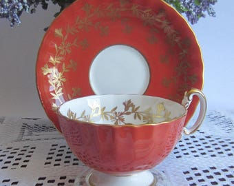 Aynsley 2312 Stunning Burnt Orange with Gold Details Wide Mouth Bone China Tea Cup and Saucer