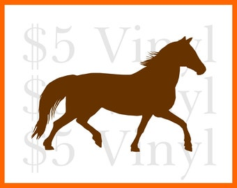 Trotting Horse Vinyl, MEDIUM-LARGE Car Decal, Wall Art, Sticker, Window Decal, Pony, Horse, Gallop, Rodeo, Cowboy