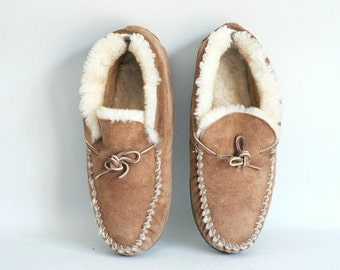 Mens Leather Shearling Slipper Moccasins Size 10