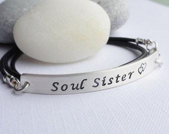 Soul Sisters - Leather Wrap Sterling Silver Bracelet - Custom Phrase - Choose Leather Colour