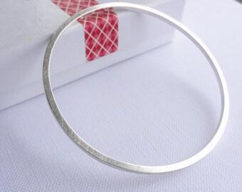 Sterling Silver Square Bangle - Brushed Bangle - Handmade