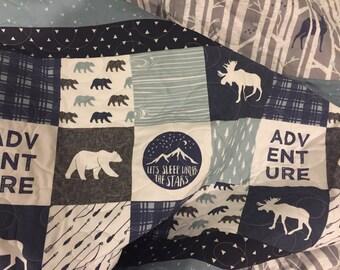 Adventure baby quilt, woodland nursery bedding, moose deer bear nursery,  navy blue gray boy bedding, woodland crib bedding, crib quilt boy