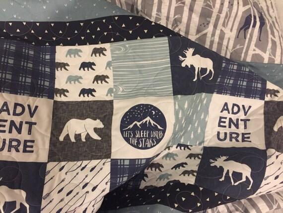 Adventure Baby Quilt Woodland Nursery Bedding Moose Deer
