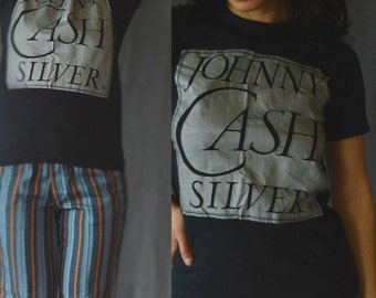 Vintage 80s band tee t-shirt Johnny Cash shirt Paper thin tee