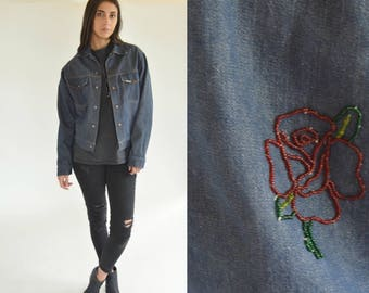 Vintage 70s - Denim jacket- Hippie jacket - Denim boho blazer - Stitched back - Rose jacket - Hippie Hipster jean jacket - S
